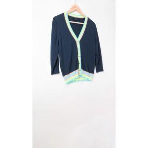Jcrew navy blue merino wool neon trim cardigan